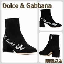 Dolce & Gabbana Plain Toe Plain Leather Block Heels Elegant Style
