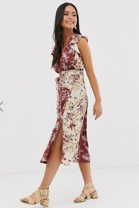 Flower Patterns Long Elegant Style Dresses