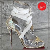 Christian Louboutin Open Toe Blended Fabrics Studded PVC Clothing Elegant Style