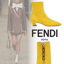 FENDI Square Toe Plain Block Heels Ankle & Booties Boots