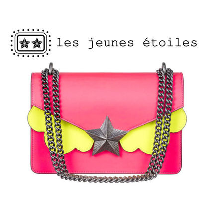 Star Casual Style Chain Leather Shoulder Bags