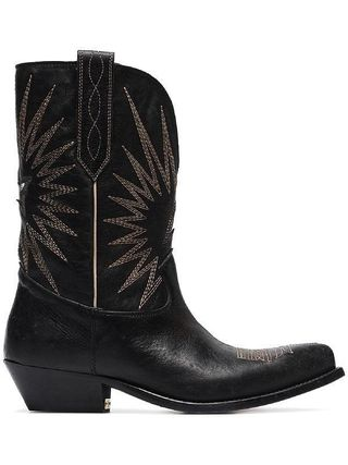 Star Cowboy Boots Plain Toe Street Style Bi-color Leather
