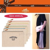 HERMES Yachting Casual Style Unisex Canvas Bag in Bag Logo Clutches