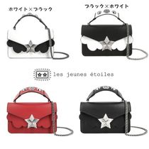 LES JEUNES ETOILES Star Casual Style Studded Chain Leather Handbags