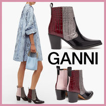 Ganni Square Toe Casual Style Other Animal Patterns Leather