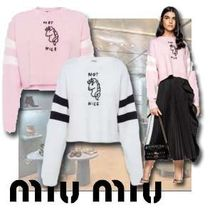 MiuMiu Cable Knit Casual Style Wool Street Style U-Neck