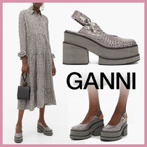 Ganni Platform Round Toe Other Animal Patterns Leather