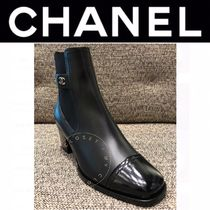CHANEL ICON Plain Toe Street Style Plain Leather Block Heels Handmade