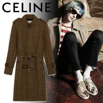 CELINE Other Check Patterns Unisex Wool Long Trench Coats