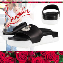 Christian Louboutin Open Toe Rubber Sole Casual Style Street Style Plain Leather