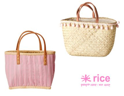 Gingham Straw Bags