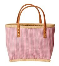 rice Gingham Straw Bags