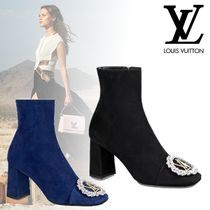 Louis Vuitton Square Toe Blended Fabrics Leather Block Heels Elegant Style