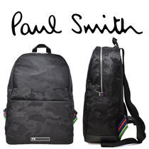 Paul Smith Stripes Camouflage Unisex Nylon Street Style A4 Backpacks