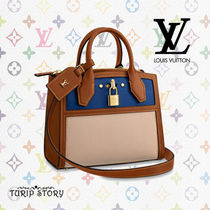 Louis Vuitton CITY STEAMER 2WAY Plain Leather Elegant Style Handbags