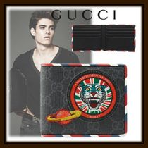 GUCCI GG Supreme Blended Fabrics Street Style Folding Wallets