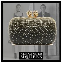 alexander mcqueen Skull Studded Chain Party Style Clutches