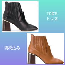 TOD'S Plain Leather Chunky Heels Ankle & Booties Boots