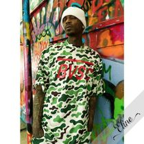 STIGMA Pullovers Camouflage Street Style Short Sleeves Oversized