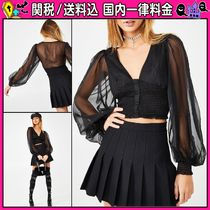 DOLLS KILL Puffed Sleeves Plain Shirts & Blouses
