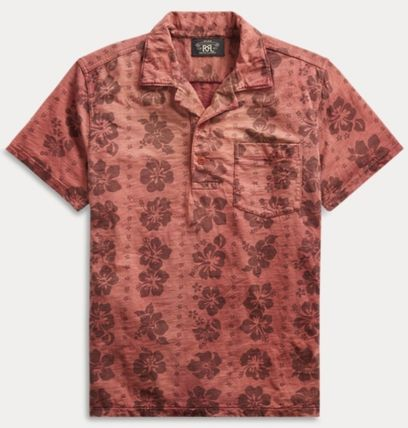 RRL Surf Style Tropical Patterns Cotton Short Sleeves