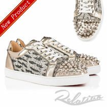 Christian Louboutin Round Toe Rubber Sole Casual Style Studded Street Style