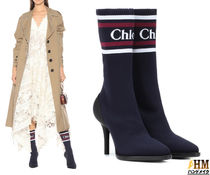 Chloe Casual Style Plain Leather Pin Heels Ankle & Booties Boots
