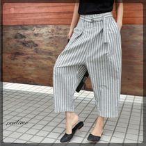 Stripes Linen Bi-color Long Oversized Wide Leg Pants