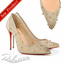 Christian Louboutin Studded Pin Heels Elegant Style Pointed Toe Pumps & Mules
