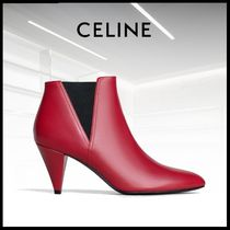 CELINE Casual Style Bi-color Leather Ankle & Booties Boots