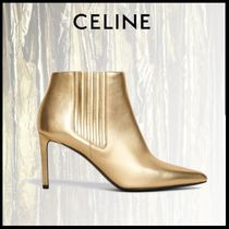 CELINE Leather Pin Heels Party Style Ankle & Booties Boots