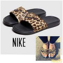 Nike Leopard Patterns Casual Style Shower Shoes Flat Sandals