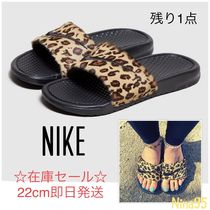 Nike BENASSI Leopard Patterns Casual Style Shower Shoes Flat Sandals
