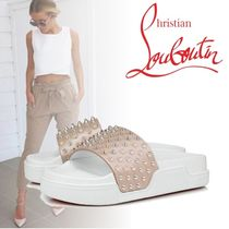 Christian Louboutin Open Toe Rubber Sole Casual Style Blended Fabrics Leather
