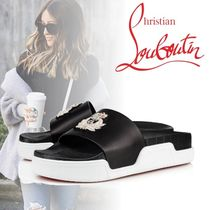Christian Louboutin Open Toe Rubber Sole Casual Style Blended Fabrics
