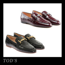 TOD'S Round Toe Other Animal Patterns Leather Office Style