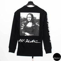 Off-White Crew Neck Pullovers Unisex Street Style Bi-color