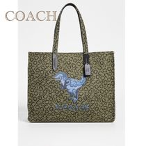 Coach Leopard Patterns Canvas A4 Other Animal Patterns Totes