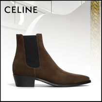 CELINE Casual Style Plain Leather Block Heels Ankle & Booties Boots