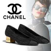 CHANEL Tweed Plain Chunky Heels Kitten Heel Pumps & Mules