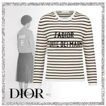 Christian Dior JADIOR Crew Neck Stripes Casual Style Cashmere Long Sleeves