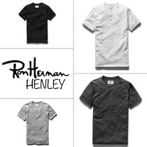 Ron Herman Pullovers Unisex Henry Neck Plain Cotton Short Sleeves