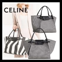 CELINE Big Bag Zigzag Blended Fabrics A4 Totes