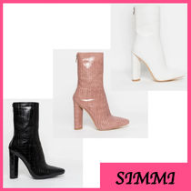 SIMMI Faux Fur Elegant Style Chunky Heels Ankle & Booties Boots