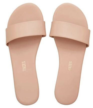 Open Toe Casual Style Plain Leather Flip Flops Flat Sandals
