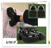 UNIF Clothing Platform Lace-up Casual Style Plain Leather Block Heels