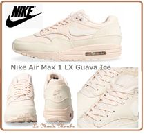 Nike AIR MAX 1 Round Toe Lace-up Casual Style Street Style Plain Leather