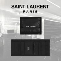 Saint Laurent Nylon Street Style Plain Folding Wallets