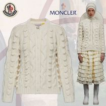 MONCLER Cable Knit Casual Style Wool U-Neck Long Sleeves Plain