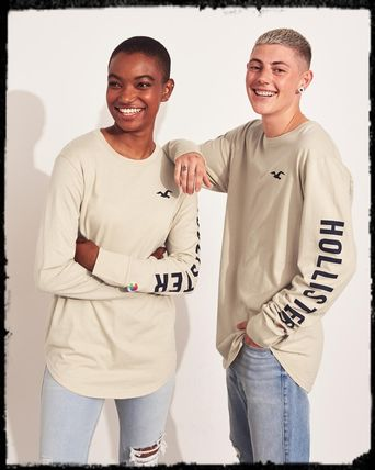 Crew Neck Long Sleeves Cotton Logos on the Sleeves T-Shirts